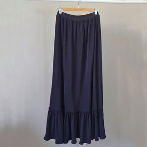 Vintage TanJay Long Black Pleated Maxi Skirt